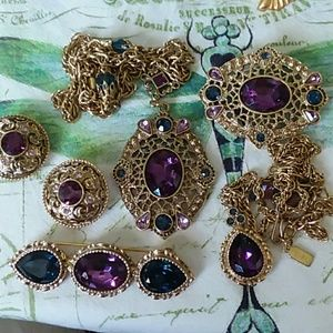 1928 5 Piece Jeweled Set - Clipons Necklaces Pins